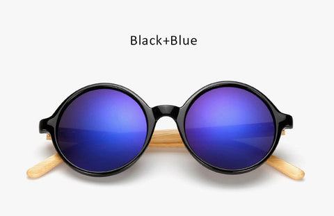 Unique Bamboo Designer Mirror Round Sunglasses Women Men Vintage Brand Sun Glasses For Male Female Original Eyewear UV400