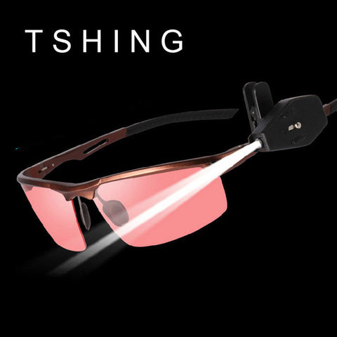 Professional Sunglasses Men Aluminum Magnesium HD Polarized Sunglasses Male Points Night Vision Driving Glasses