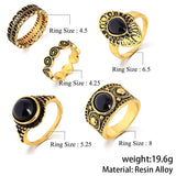Turkish Vintage Ring Sets 5 PCS Antique Alloy Nature Blue Stone