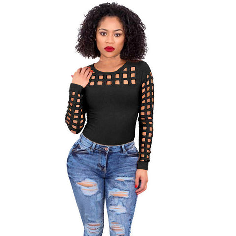 Choker Hollow Out Round Neck Tops