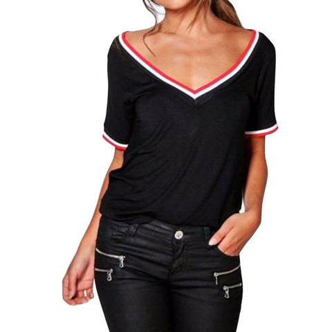 Casual Patchwork Short Sleeve V Neck Rib Detail T-Shirt