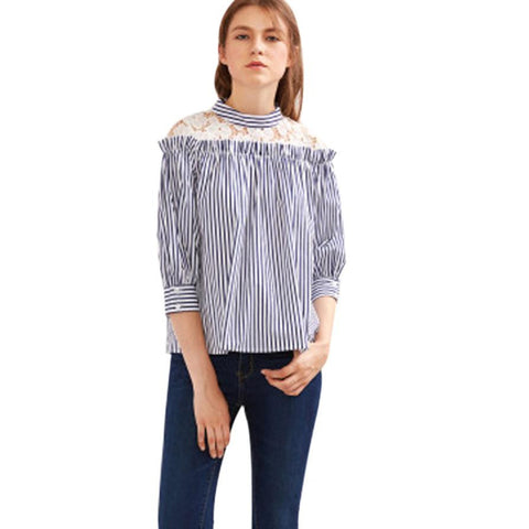 Vertical Striped Lace Casual Blouse