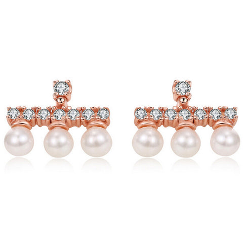 Real 925 Sterling Silver Shell Pearl Stud Earrings