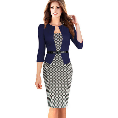Womens Autumn Elegant Plaid Formal Business Dresses
