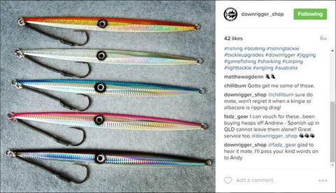 Downrigger Shop's instagram filled with good feedback for 420 gram jigs