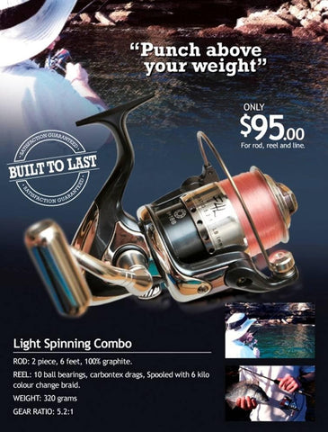 The Downrigger Shop Light Spinning Combo is perfect for bass