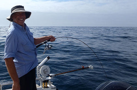 Andy hooked up offshore on a micro jig with the Downrigger Shop combo