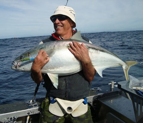 Andy with a Kingfish close to his PB on a Blue 250 gram jig
