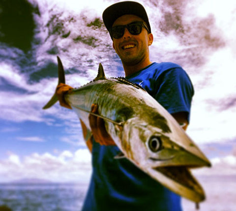 Grant getting Spanish Mackerel on 100 gram jigs at the Whitsundays