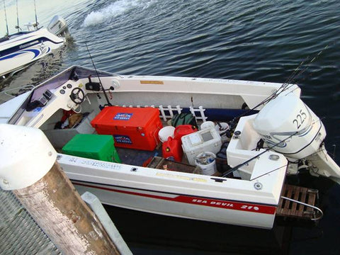 Add a large esky to a cluttered boat and soon you'll have no more room