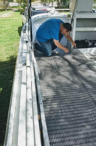 Installing and cutting to size boat deck tube matting is quick and easy