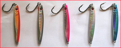 The Downrigger Shop's 40 gram micro jigs in 5 colours