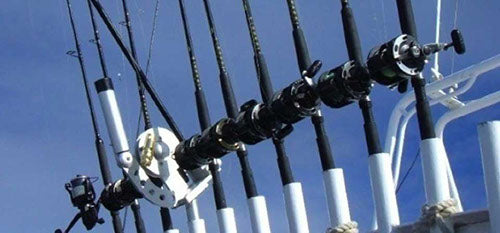 Storing a Downrigger in a Rod Rack