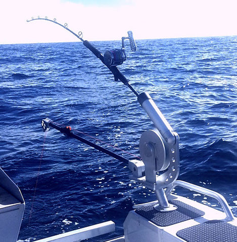 rod set up with downrigger off back of boat