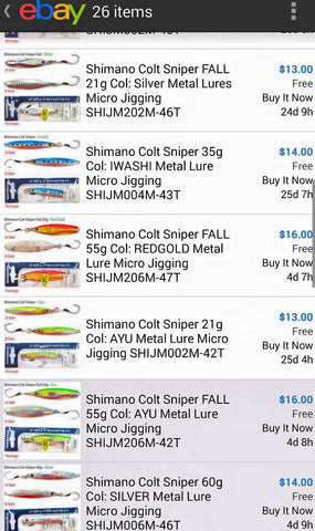 Expensive 40 gram shimano jigs on ebay