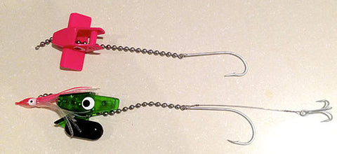 Head start trolling rigs set up and ready for dead bait