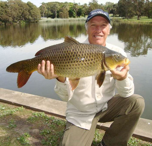 Andy with a carp caught in Centennial Park Sydney Australia