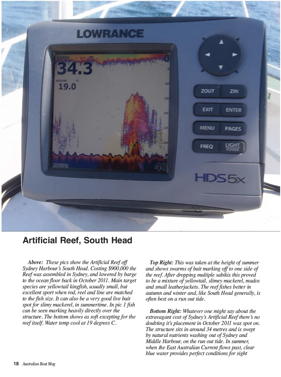 Finding reefs on your depth sounder