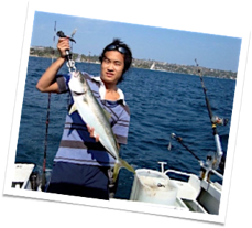 Jay with a Kingfish he just caught downrigging