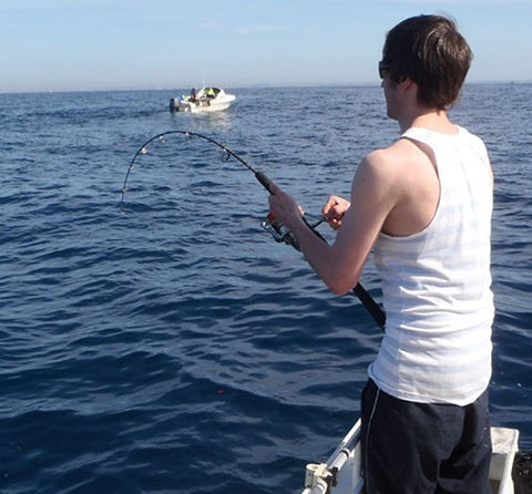 Jeremy jigging 12 mile reef with the hercules rod
