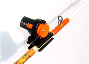 Detachable line counter attached to fishing rod, included with downrigger shop purchase
