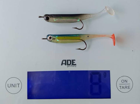 Two micro plastic lures on the scales