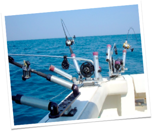 A multiple fishing rod set up at the back of boat