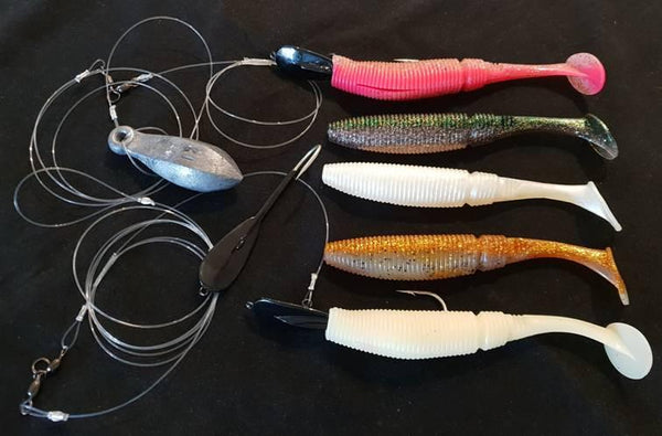 Pre rigged big soft plastics by The Downrigger Shop