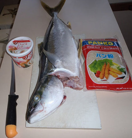 Assemble your Kingfish, ingredients and filleting knife