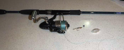 802 blue light spin combo pre rigged with a tiny soft plastic