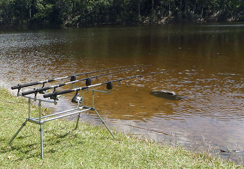 The collapsible rod pod set up on the bank