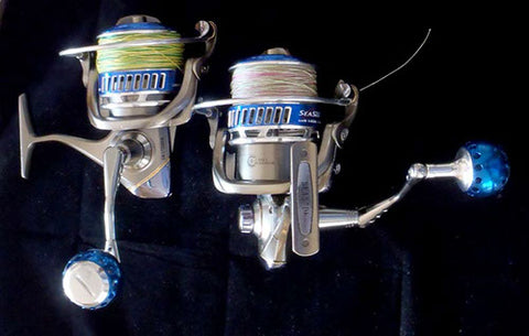 Two of the Snapper Combo's reels, spooled and ready to go