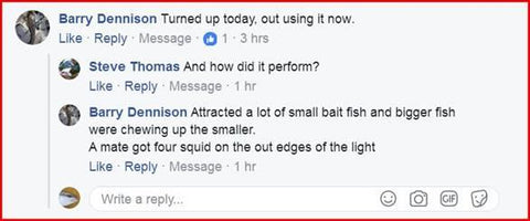 Downriggershop squid light review on facebook