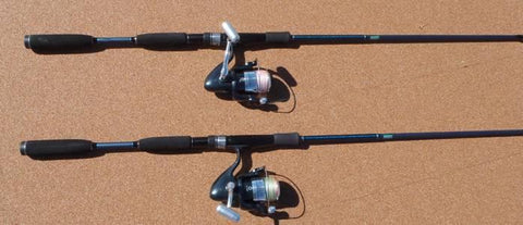 Two of the light spin combos ready to go beach fishing