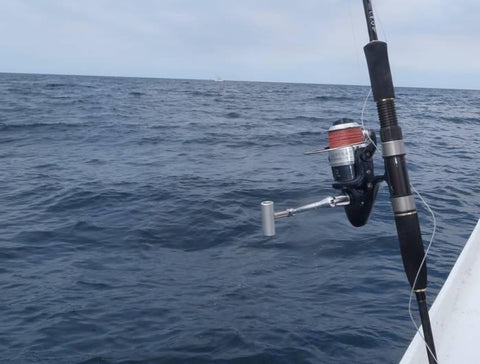 The rod and reel combo can be used offshore from the boat