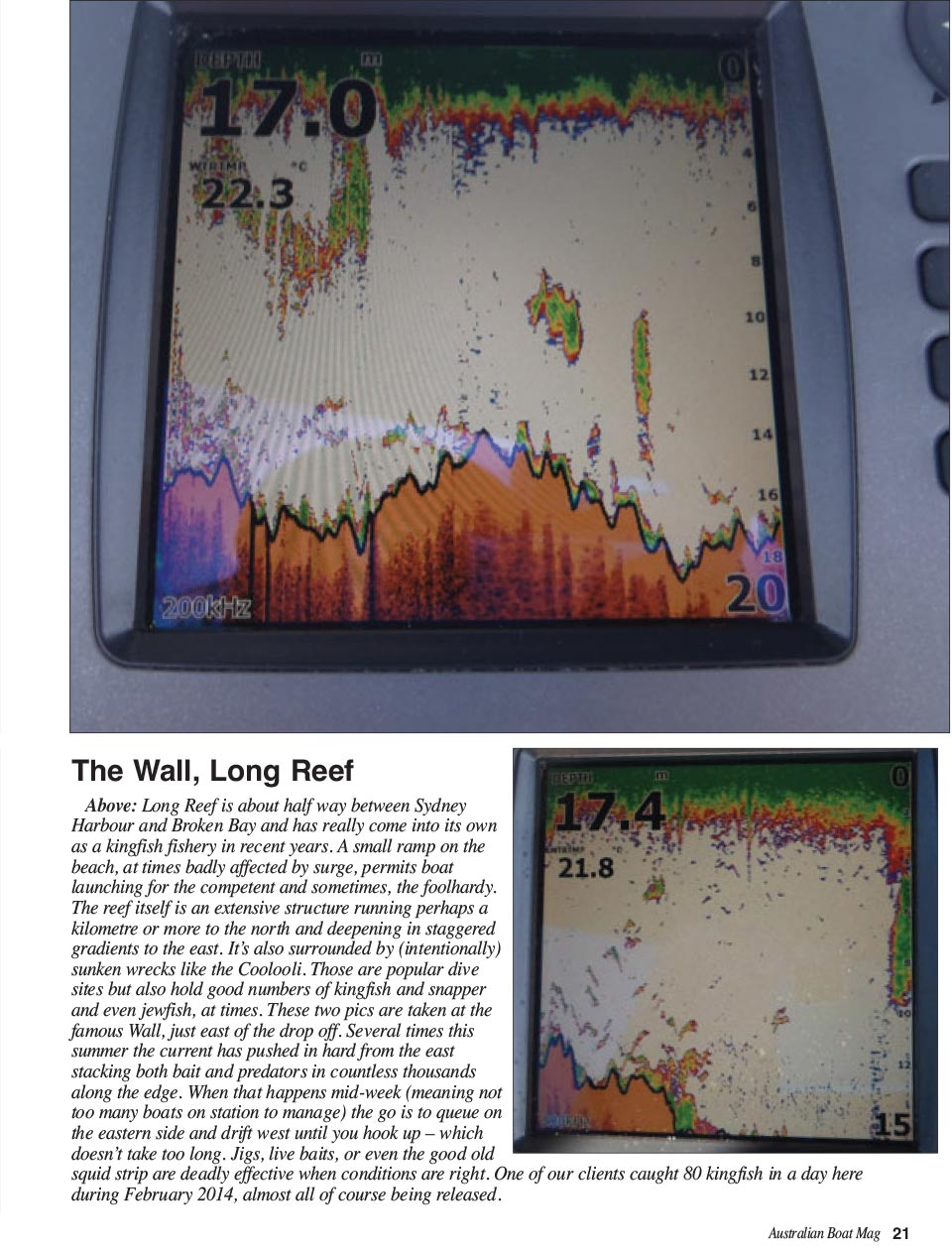 Where the reef ends shown on a Lowrance depth sounder
