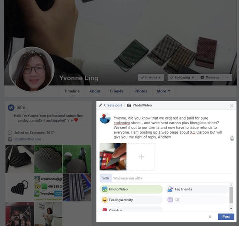 Yvonne Ling XC Carbon scammer