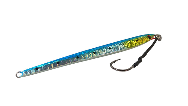 The blue Downrigger Shop 250 gram knife jig