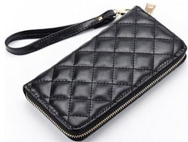 ladies black genuine leather diamond design leather purse with wrist strap