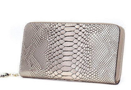 genuine leather snake skin printed ladies purse