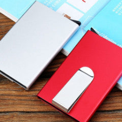 metal unisex slim card holder with money clip