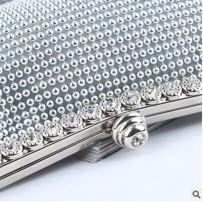 side view of silver evening bag