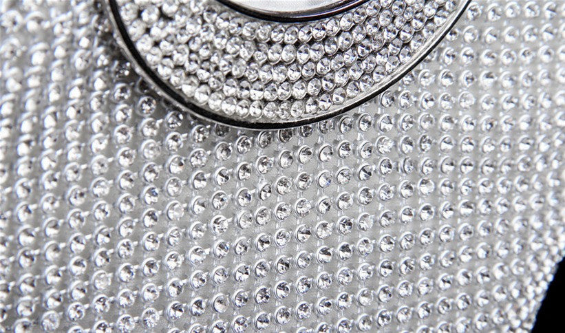 close up of silver evening bag