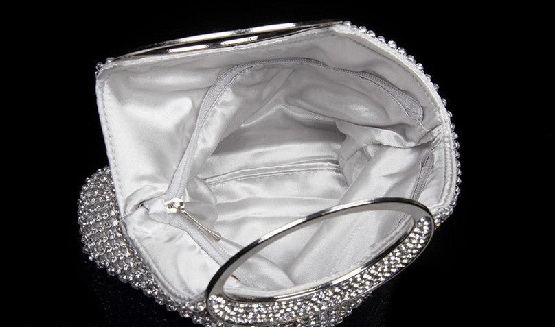 inside of silver evening bag