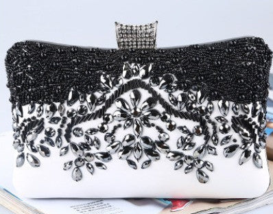 black and white sequenced evening bag