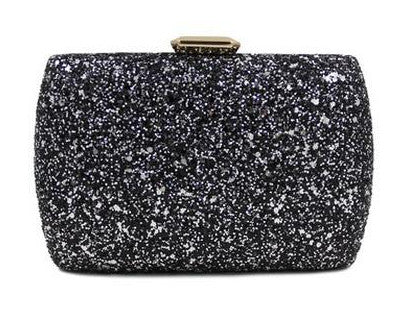 front of black clutch evening bag