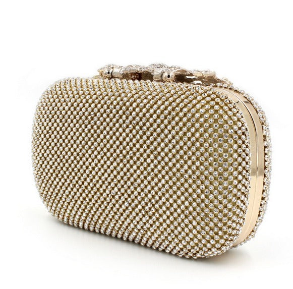 back of gold clutch evening bag