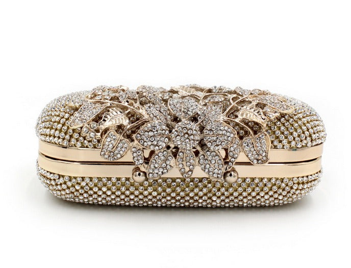 front of gold clutch evening bag