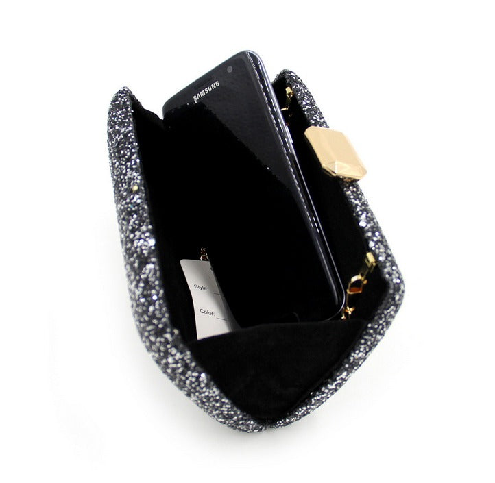 inside of black clutch evening bag