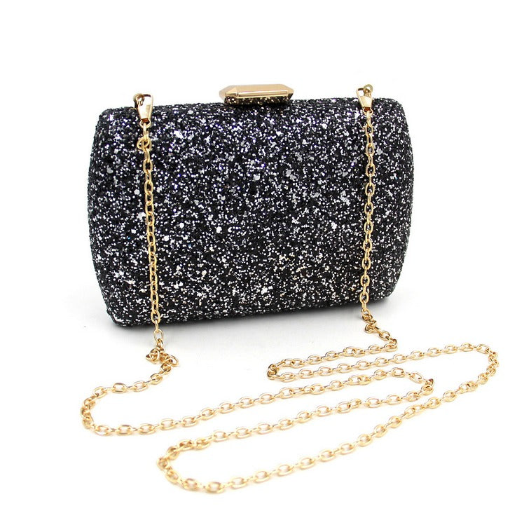 string of black clutch evening bag